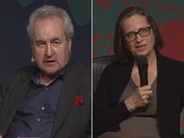 John Banville e Lydia Davis participam de mesa na Flip 2013 (Foto: Reprodução/G1)