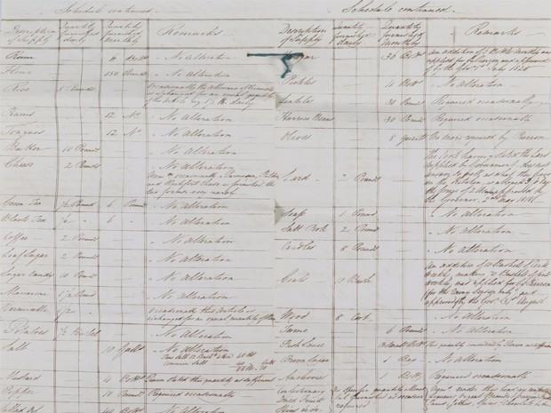 Cópia do inventário de comidas e bebidas entregues a Napoleão em seu exílio na ilha de Santa Helena (Foto: Reprodução/Woole&Wallis)