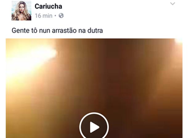 Cariúcha relata arrastão (Foto: Reprodução)