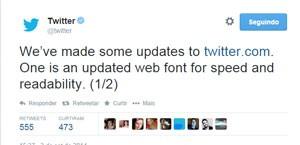 Twitter muda fonte para 'facilitar leitura' (Foto: Reprodução/Twitter)