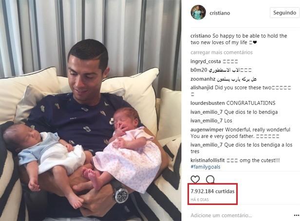 Cristiano Ronaldo e os gêmeos (Foto: Reprodução/Instagram)