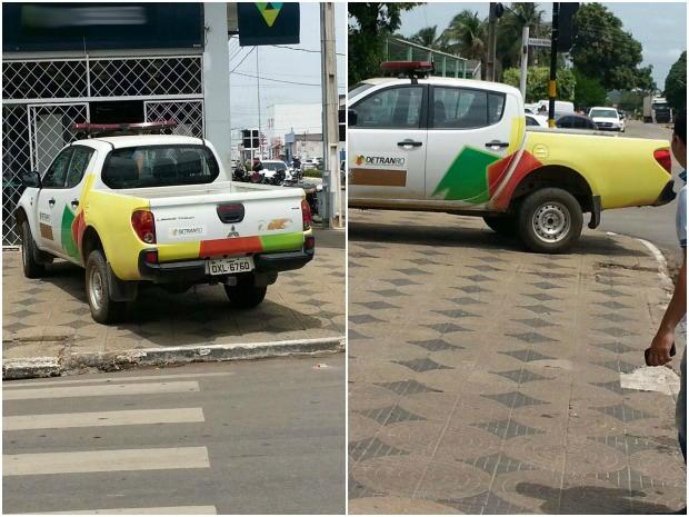 Caminhonete estava parada em cima de calçada em Ji-Paraná (RO) (Foto: Reprodução)
