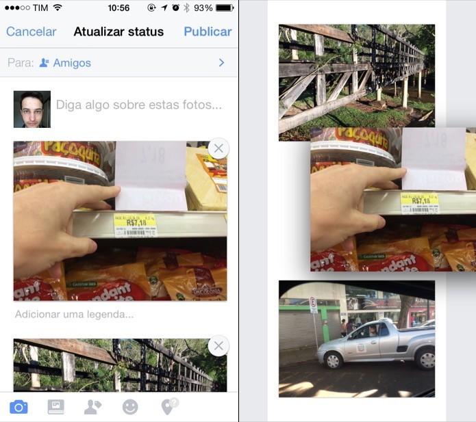 Alterando ordem das fotos no app para iOS (Foto: Reprodução/Helito Bijora)