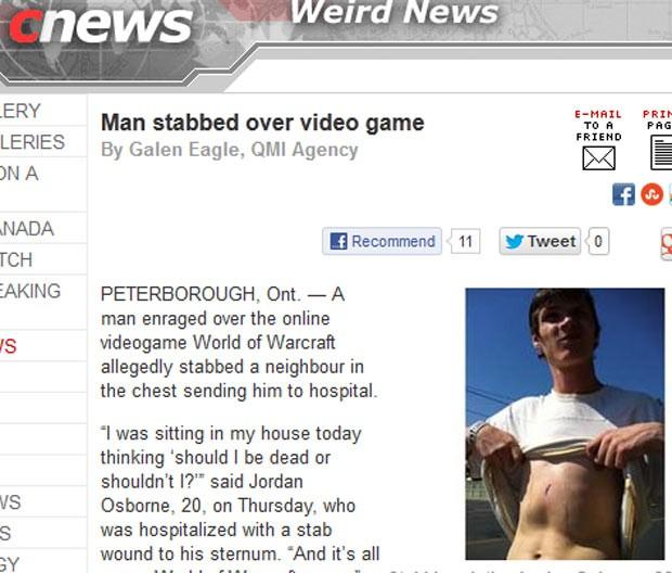 Jordan Osborne exibe cicatriz após levar facada de amigo irritado com game (Foto: Reprodução)