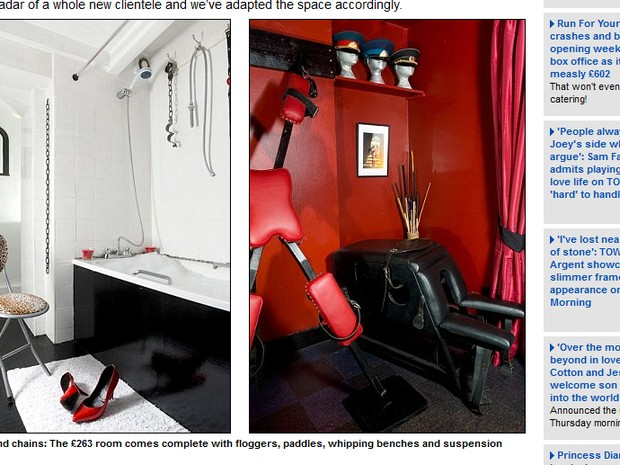 Chicotes e correntes: o quarto alugado por Georgina Wilde foi todo adaptado para se transformar em uma verdadeira réplica do Quarto Vermelho de Christian Grey (Foto: Reprodução/Daily Mail)