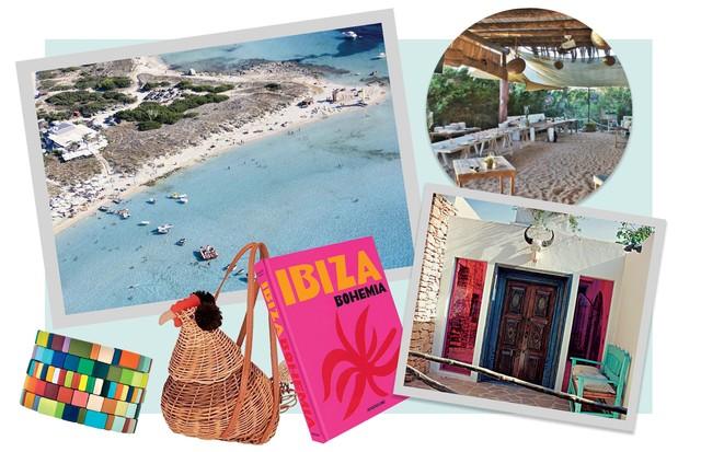 A vista panorâmica de Formentera, o badalado Beso Beach Club, na mesma ilha, e o livro Ibiza Bohemia, lançado pela editora Assouline (US$ 85) (Foto:  Getty Images/ Dea / M. Leigheb / Contributor, Matteo Imbriani Thinkstock e Divulgação)