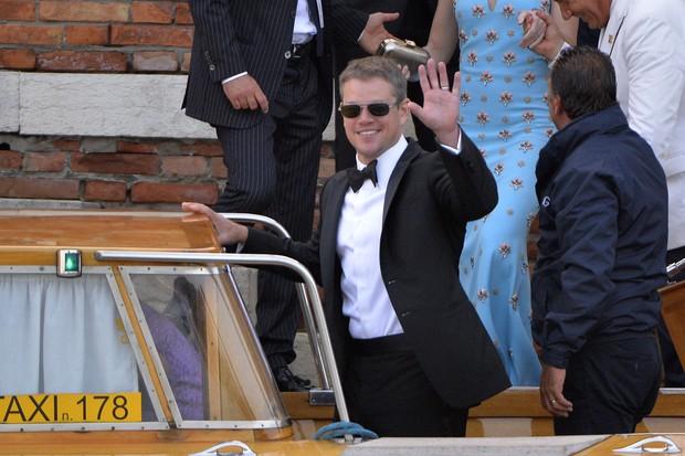 Matt Damon no casamento de George Clooney (Foto: AFP)