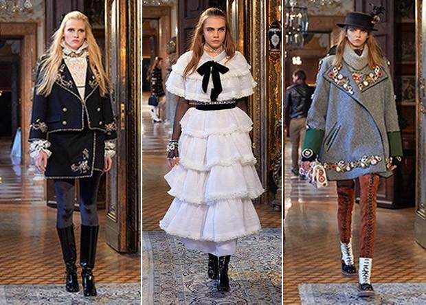 Referncias masculinas, babados e botas de cano alto com cadaro na passarela da Chanel (Foto: Divulgao/Chanel)