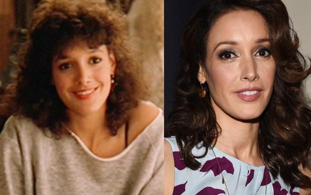 Jennifer Beals em 1983 no filme Flashdance e em 2015 (Foto: Divulgação/Agência Getty Images)