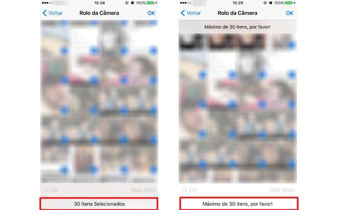Agora é possível enviar até 30 fotos no WhatsApp pelo iPhone (Foto: Reprodução/Camila Peres)