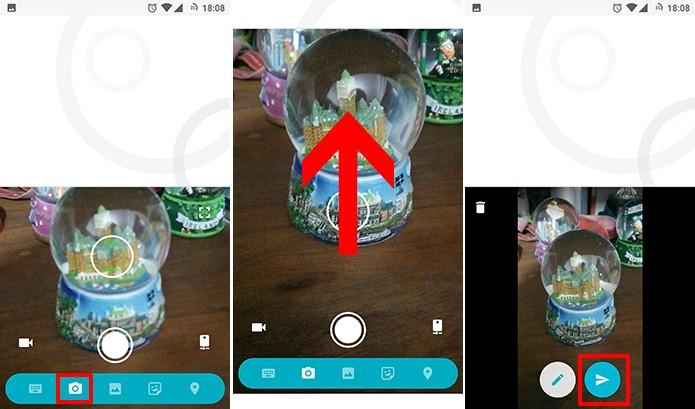 Google Allo pode ter foto tirada com a câmera e enviada para contatos (Foto: Reprodução/Elson de Souza)