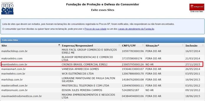 Mambo Eletro aparece na lista de sites a evitar do Procon-SP (Foto: Reprodução/Procon SP)