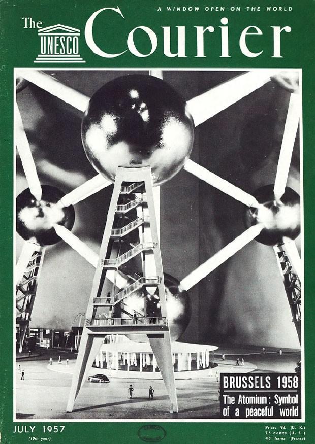 Revista da Unesco mostra uma réplica do Atomium em 1957, ainda antes da sua construção (Foto: Reprodução/The Unesco Courier)