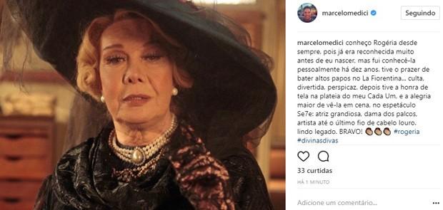 Marcelo Médici lamenta morte de Rogéria (Foto: Reprodução/Instagram)