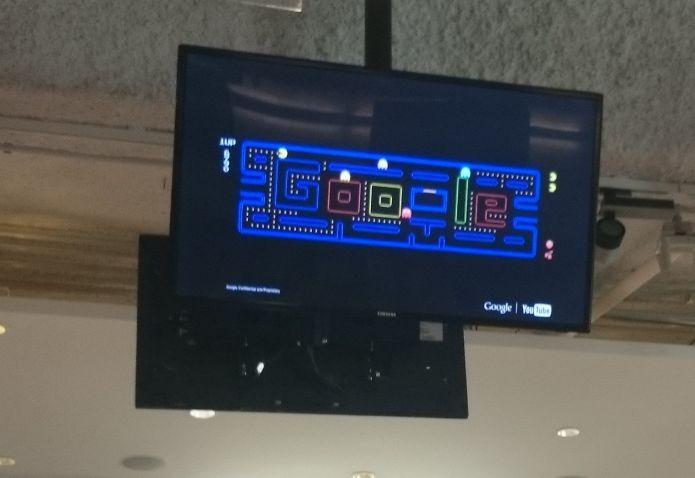 Brincadeira do Google com Pac-Man: Apesar de respeitar o passado, gerente da empresa já imagina o futuro dos jogos digitais (Foto: Pedro Zambarda/TechTudo)