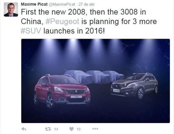 """""""Primeiro o novo 2008, depois o 3008 na China, #Peugeot está planejando o lançamento de 3 novos #SUVs para 2016!"""", disse o CEO da Peugeot, Maxime Picat, na conta oficial do Twitter (Foto: Reprodução)"""