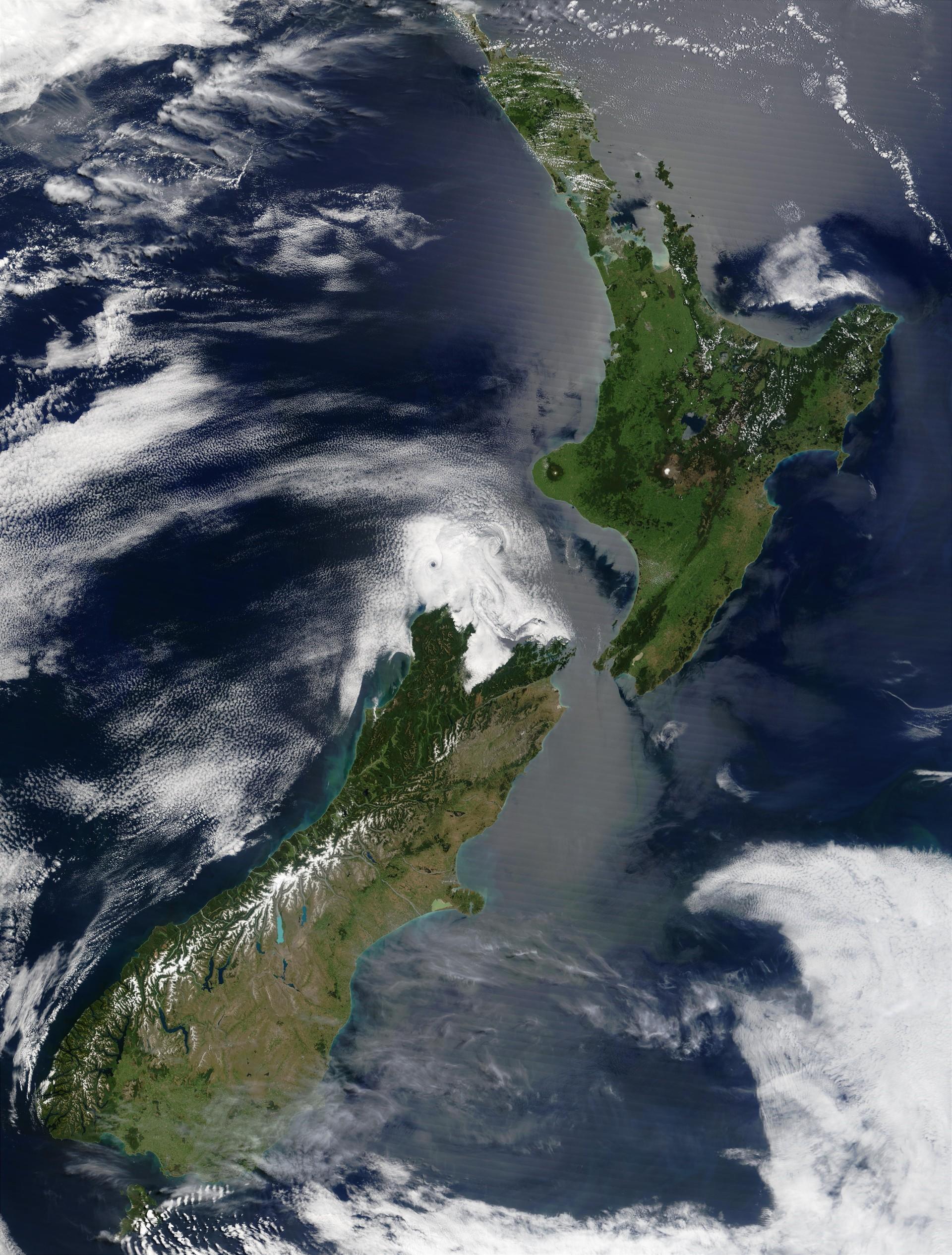Imagem de satélite da Nova Zelândia (Foto: Wikimedia Commons)