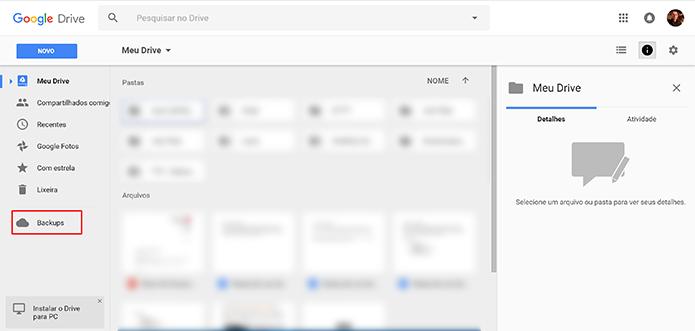 Selecione a guia Backups para excluir as copias de segurança do Google Drive (Foto: Reprodução/Elson de Souza)