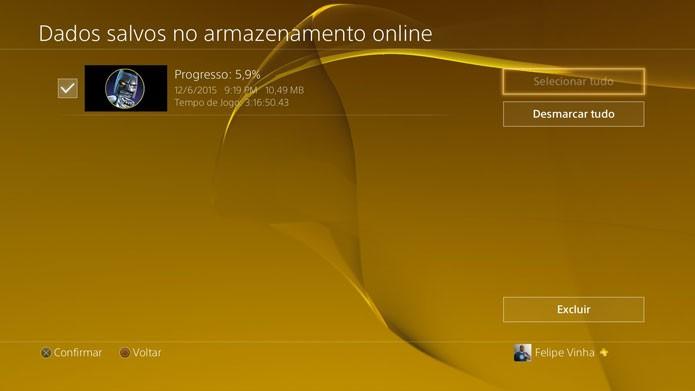 Também é possível excluir saves da nuvem do PS4 (Foto: Reprodução/Felipe Vinha)