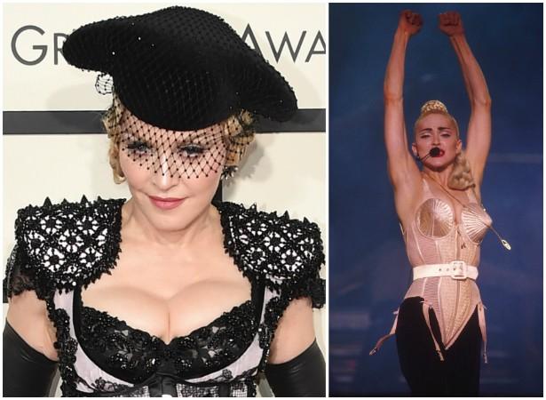 Madonna é outra estrela que fez seguro para os seios. A apólice é de 2 milhões de reais. (Foto: Getty Images)