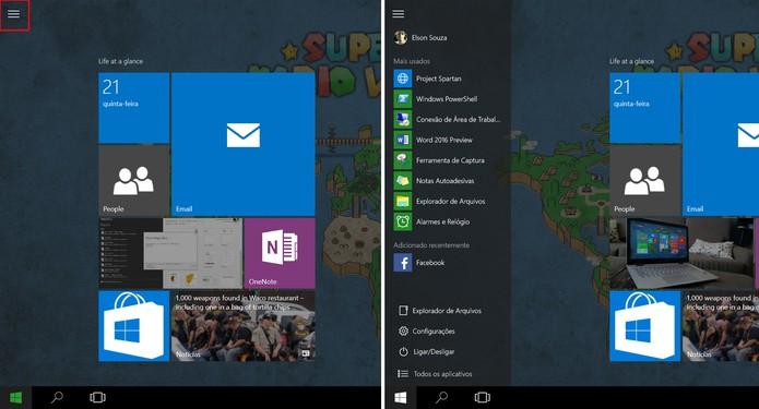 Windows 10 ganhou um botão sanduíche no menu Iniciar para tablets (Foto: Reprodução/Elson de Souza) (Foto: Windows 10 ganhou um botão sanduíche no menu Iniciar para tablets (Foto: Reprodução/Elson de Souza))