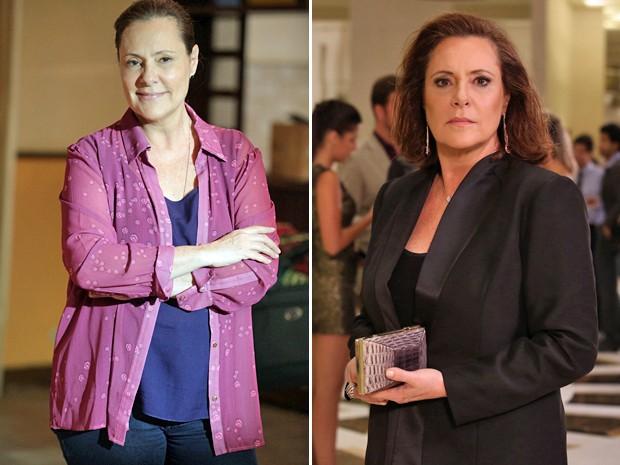 Tina antes e depois da transformação (Foto: Inácio Moraes e Carol Caminha / Gshow)