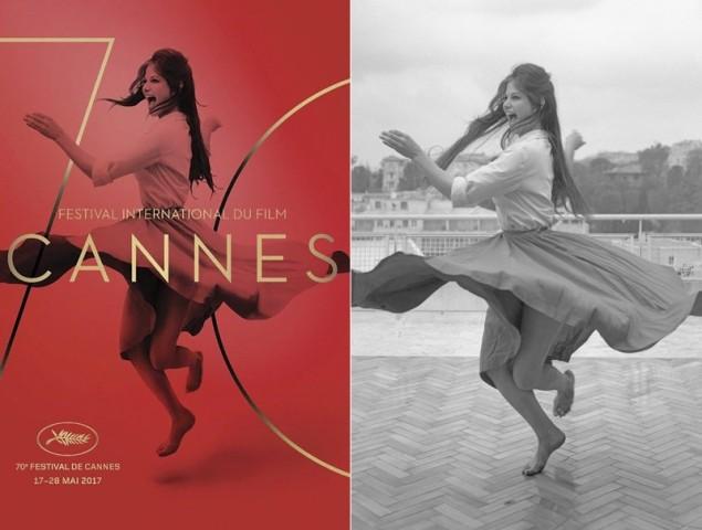 Pôster do 70º Festival de Cannes x Foto original (Foto: Reprodução)
