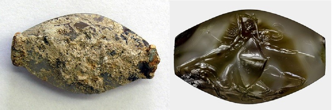 A escultura antes e depois do trabalho de reconstituição feito pelos pesquisadores (Foto: University of Cincinnati)