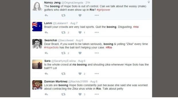 Usuários do Twitter criticaram o comportamento da torcida brasileira (Foto: Reprodução Twitter)