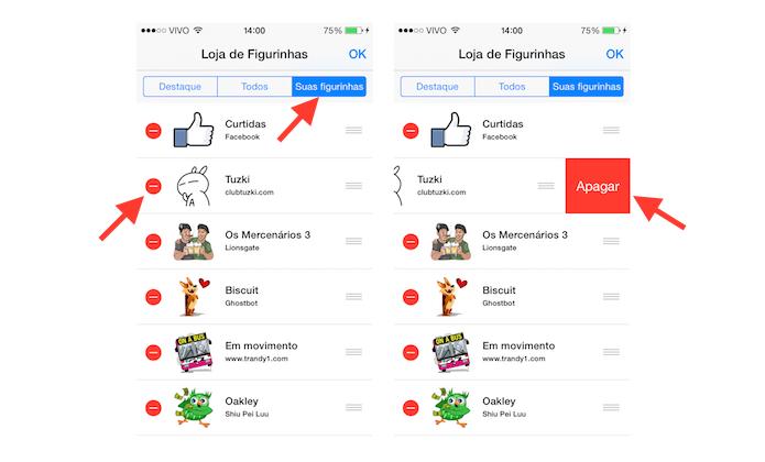 Gerenciando figurinhas baixadas no Facebook Messenger no iOS (Foto: Reprodução/Marvin Costa)