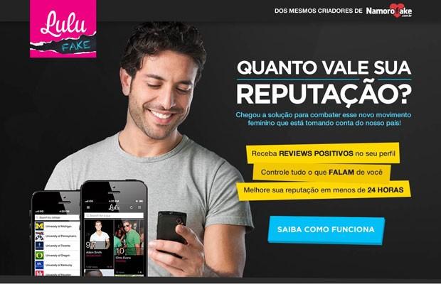"""Site """"LuluFake"""" vende avaliações positivas que custam de R$ 10 a R$ 100 no Lulu, aplicativo que incentiva mulheres a darem notas a comportamento e desempenho masculinos. (Foto: Reprodução)"""