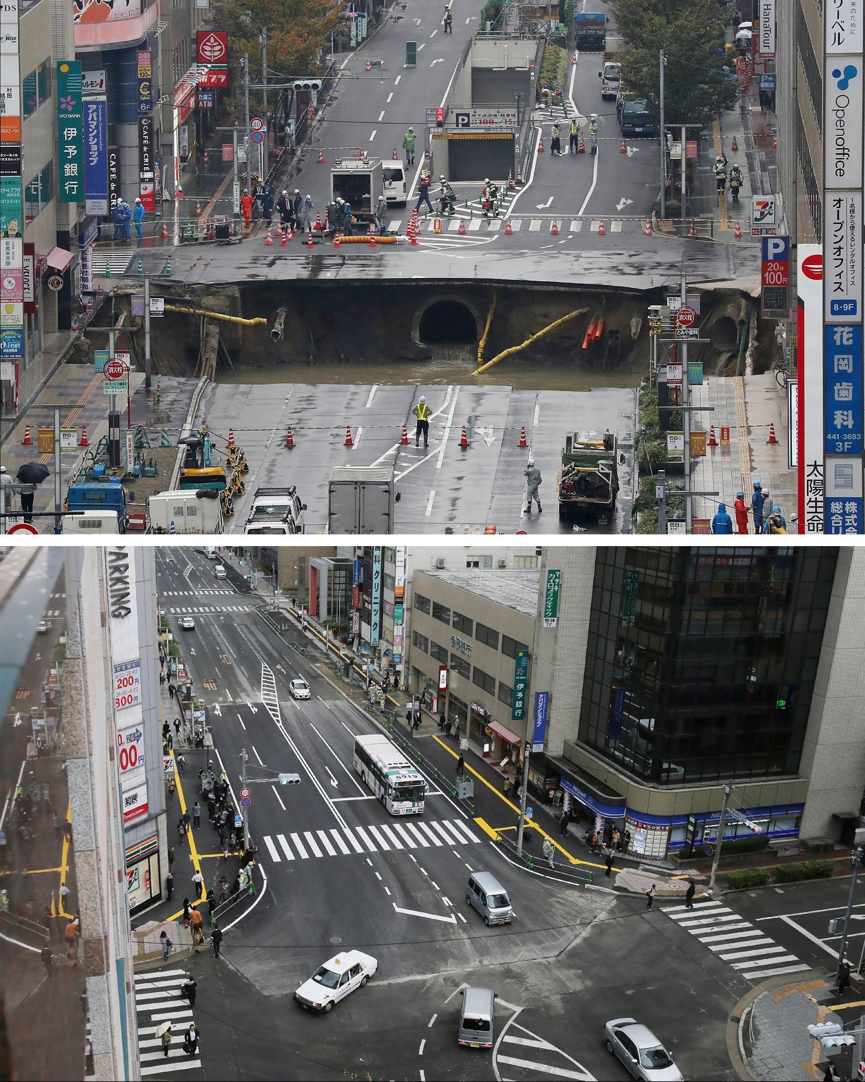Operários trabalharam dia e noite para consertar a cratera (Foto: Jiji Press/AFP)