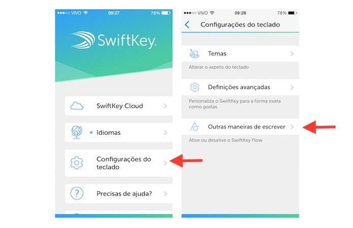 Acessando as configurações de modos de escrita no SwftKey para iOS (Foto: Reprodução/Marvin Costa)