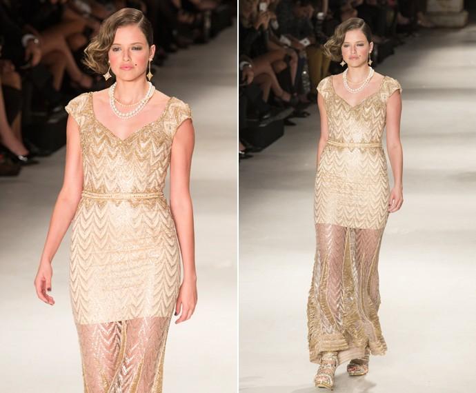 Giovanna usa vestido com estampa tipo chevron, ideal para disfarçar gordurinhas indesejadas (Foto: Felipe Monteiro / Gshow)