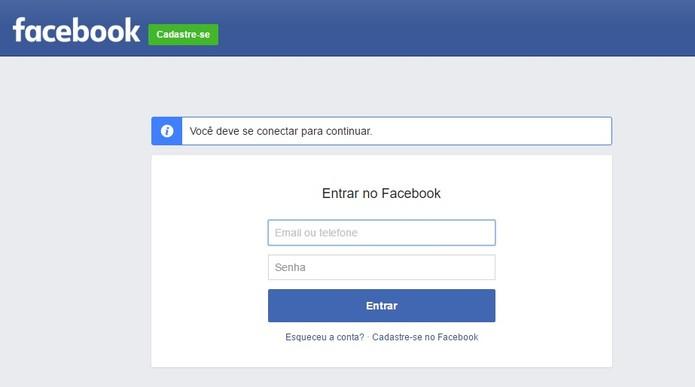 Coloque o Login e senha para entrar no Facebook (Foto: Reprodução/Camila Peres) (Foto: Coloque o Login e senha para entrar no Facebook (Foto: Reprodução/Camila Peres))