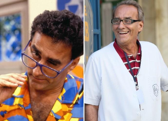 Como o aluno Armando Volta e na pele do inspetor Idelfonso: David Pinheiro tem personagens marcantes na escola (Foto: CEDOC / TV Globo / Isabella Pinheiro / Gshow)