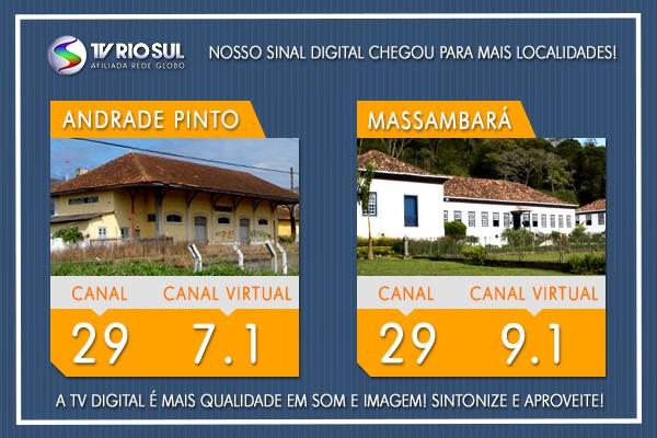 Os distritos de Andrade Pinto e Massambará, em Vassouras, vão receber o sinal HD da TV Rio Sul a partir desta terça (22) (Foto: TV Rio Sul)