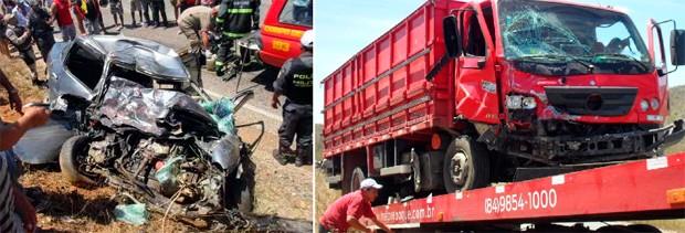Acidente envolveu um Corsa e um caminhão Mercedes, que colidiram frontalmente (Foto: Jaime Júnior )