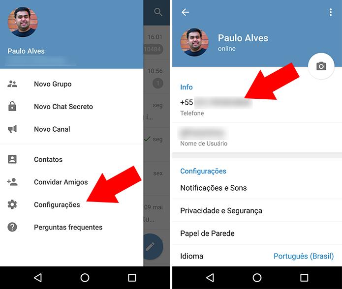 Acesse as configurações do Telegram (Foto: Reprodução/Paulo Alves)