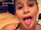 Giulia Costa malha na esteira e mostra animação: 'Bora'