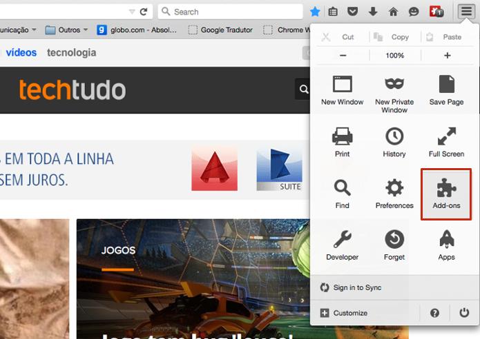 Acesse as extensões do Firefox (Foto: Reprodução/Paulo Alves)