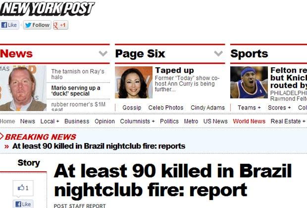 """O jornal norte-americano """"New York Post"""" deu destaque para o ocorrido em sua página na internet (Foto: Reprodução)"""