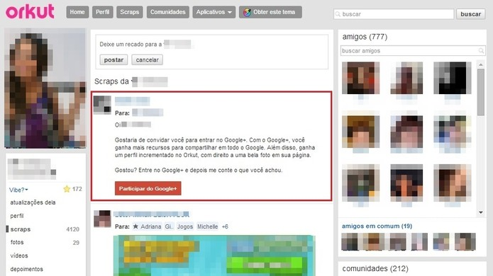 O convite para usar o Google+ é publicado como scrap na página do amigo (Foto: Reprodução/Paulo Finotti)