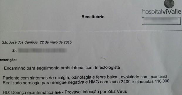 Atestado zika vírus em São José (Foto: Arquivo Pessoal)