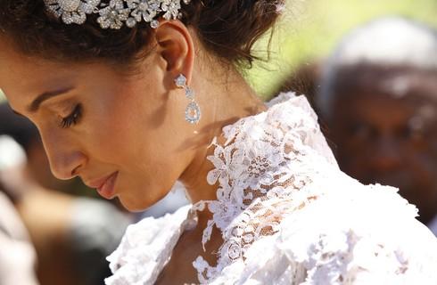 Veja detalhes do vestido de noiva e do casamento de Isabel e Zé Maria