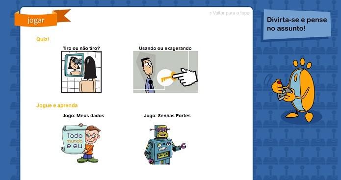 Site do Dia da Internet Segura traz jogos e vídeos educativos (Reprodução/SaferNet)