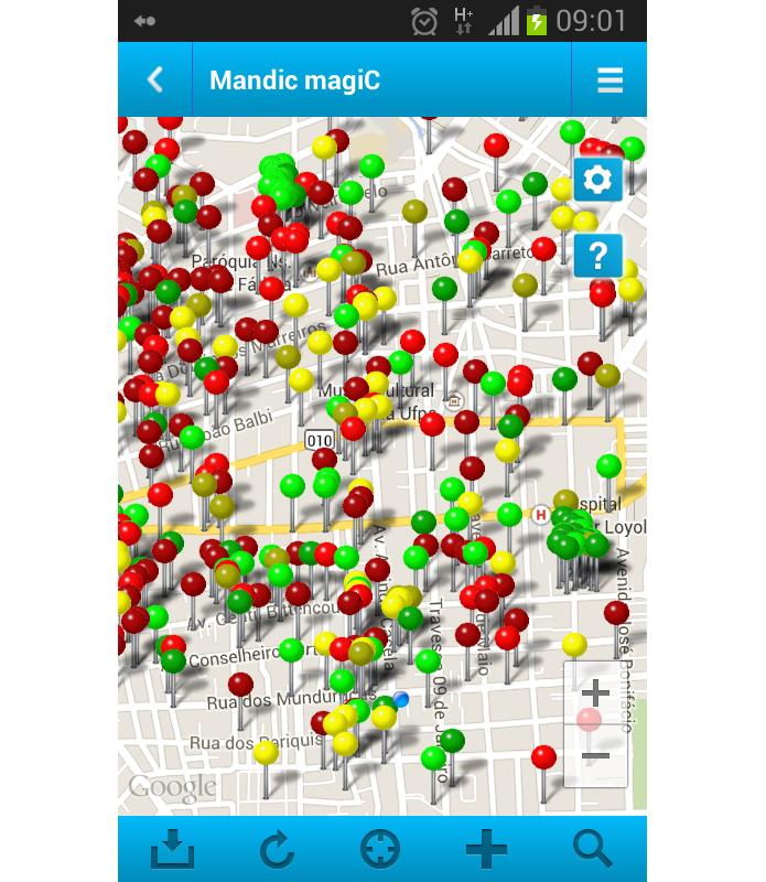 Tela principal do aplicativo mostra mapa com todos os pontos de acesso Wi-Fi disponíveis (Foto: Reprodução/Paulo Alves) (Foto: Tela principal do aplicativo mostra mapa com todos os pontos de acesso Wi-Fi disponíveis (Foto: Reprodução/Paulo Alves))