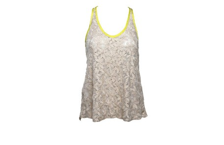 Camisa renda flores crua com viés verde limão da Botswana (R$129) Camilla Maia