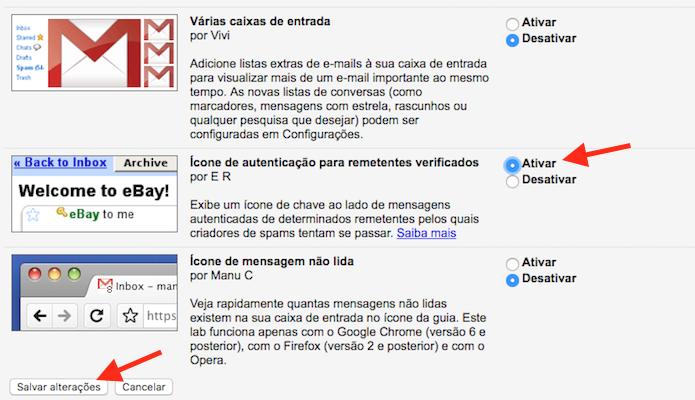 Ativando a função de remetentes autenticados do Gmail (Foto: Reprodução/Marvin Costa)