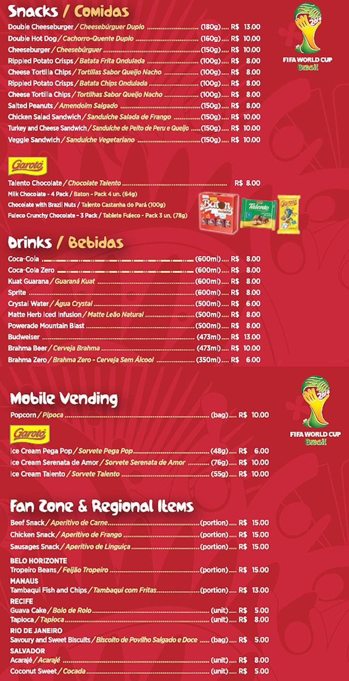 Tabela preços Copa do Mundo (Foto: Reprodução)